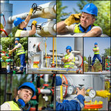 Oil and gas industry. Collage of oil and gas industry worker on plant royalty free stock image
