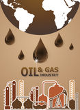 Oil and gas industry concept, extraction, processing Royalty Free Stock Images