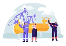 Oil and Gas Industry Concept with Man Character Working on the Pipeline. Oilman Worker on Production Line Petrol Refinery. With Woman Check Quality Control stock illustration