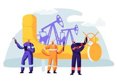 Oil and Gas Industry Concept with Man Character Working on the Pipeline. Oilman Worker on Production Line Petrol Refinery. Vector flat illustration royalty free illustration