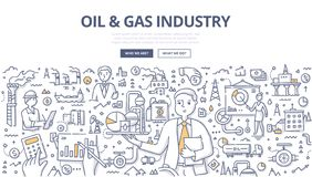Oil & Gas Industry Doodle Concept vector illustration