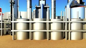 Oil and gas industry facilities in animation stock video