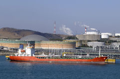 Oil and gas industry - grude oil tanker. Tanker crude oil carrier ship designed for transporting grude oil Royalty Free Stock Image