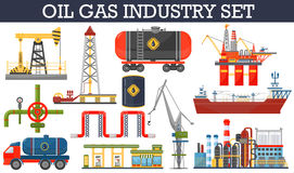 Oil gas industry infographics concept. Gasoline diesel fuel transportation and distribution icons royalty free illustration