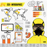 Oil and gas industry infographics, extraction, processing and transportation Royalty Free Stock Photo