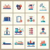 Oil, gas industry modern flat design icons and pictograms. Set of modern vector oil industry flat design icons and pictograms. Collection of oil and gas industry Royalty Free Stock Photos