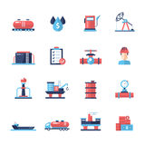 Oil, gas industry modern flat design icons and pictograms Royalty Free Stock Photo