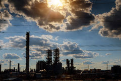 Oil and gas industry in powerful processing. Pipes, pollution, refinery-pipelines, work Stock Photo