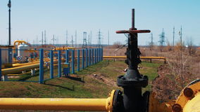 Oil and gas industry. A processing and storage station for natural gas. Pipeline with shut-off valve. stock video