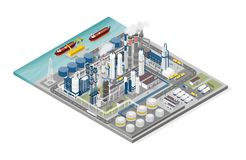 Oil and gas industry and production process infographic. Isometric refinery, pipeline and people working vector illustration