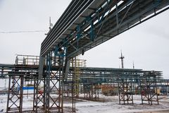 Oil and gas industry,refinery factory. Industrial installation in oil and gas production Royalty Free Stock Photography