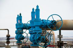 Oil and gas industry,refinery factory. Industrial installation in oil and gas production Stock Photos