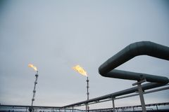 Oil and gas industry,refinery factory. Industrial installation in oil and gas production Stock Image