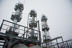 Oil and gas industry,refinery factory. Industrial installation in oil and gas production Royalty Free Stock Image