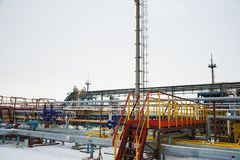 Oil and gas industry,refinery factory. Industrial installation in oil and gas production Royalty Free Stock Photo