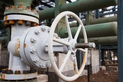 Oil and gas industry,refinery factory. Industrial installation in oil and gas production Stock Images