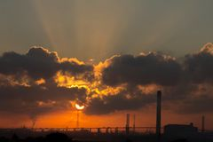 Oil and gas industry - refinery at sunrise. Factory Stock Photos