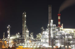 Oil and gas industry - refinery at twilight - factory stock image