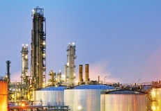 Oil and gas industry - refinery at twilight - factory - petroche Stock Photography