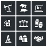 Oil and gas industry Vector Icons Set Royalty Free Stock Photo