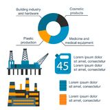 Oil gas industry vector manufacturing gas infographic world oil production distribution petroleum extraction. Oil gas industry vector manufacturing gas Stock Images