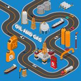 Oil And Gas Isometric Composition. On blue background with various transportation, road, industrial facilities, canisters vector illustration Stock Image
