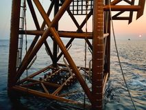 Lower itto seabed. An oil and gas jacket ready to be lowered to seabed for installation stock photo