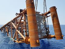 Lower it to seabed. An oil and gas jacket ready to be upended then lowered to seabed for installation royalty free stock photos