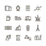 Oil and gas manufacturing and industrial equipment vector line icons stock illustration