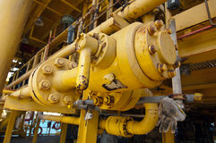Oil and gas offshore industry pipe work Royalty Free Stock Image