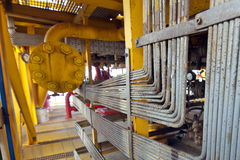Oil and gas offshore industry pipe work Stock Photography