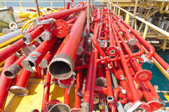 Oil and gas offshore industry pipe work Stock Photo