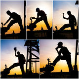 Oil gas operater collage. Oil gas industry in sunset collage stock photo