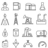 Oil, gas, petroleum, energy, drilling line icons royalty free illustration