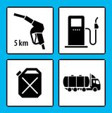 Set of icons for gas station. Oil and gas pictogram collection. Vector Illustration Royalty Free Stock Photos