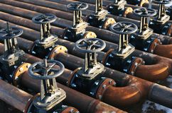 Oil and gas pipe line valves Royalty Free Stock Photos