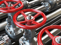 Oil or gas pipe line valves. Royalty Free Stock Photo