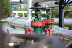 Oil and gas pipe line valves Stock Images