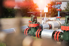 Oil and gas pipe line valves Royalty Free Stock Images