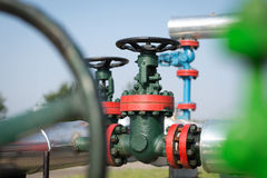 Oil and gas pipe line valves Stock Image