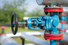 Oil and gas pipe line valves Stock Photography