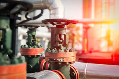 Oil and gas pipe line valves royalty free stock photo