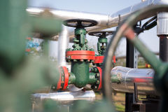 Oil and gas pipe line valves Royalty Free Stock Photography