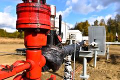 Oil and Gas Pipeline Background. An abstract image of an oil and gas pipeline pumping station stock photo