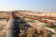 Oil and gas pipeline in the desert Stock Photos