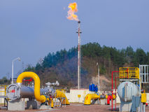 Oil/gas pipeline on fire Royalty Free Stock Image