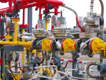 Oil/gas pipeline on fire. Natural gas flame is burning stock photography
