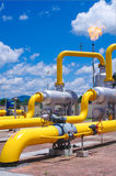 Oil/gas pipeline on fire. Natural gas flame is burning royalty free stock images
