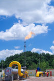Oil/gas pipeline on fire. Natural gas flame is burning royalty free stock photography