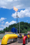 Oil/gas pipeline on fire. Natural gas flame is burning stock photos